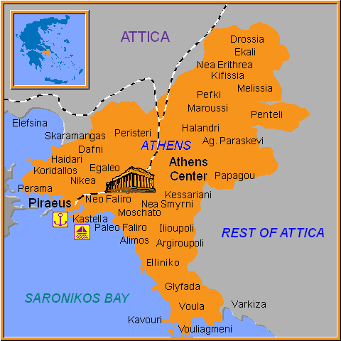 Travel Greece Map of Athens