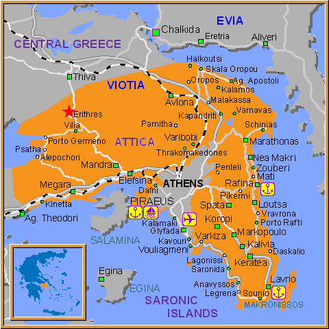 Travel Greece Map of Erithres