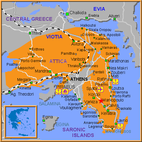 Travel Greece Map of Markopoulo