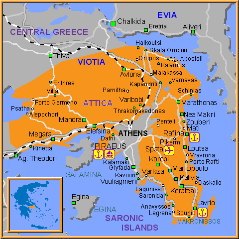 Travel Greece Map of Athens-Attica