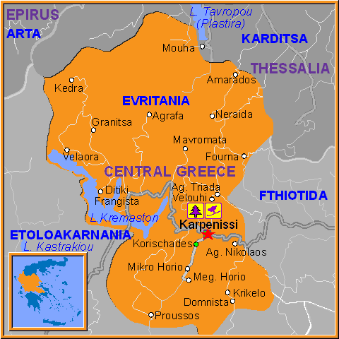 Travel Greece Map of Karpenissi
