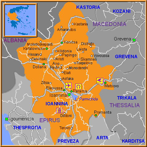 Travel Greece Map of Ioannina