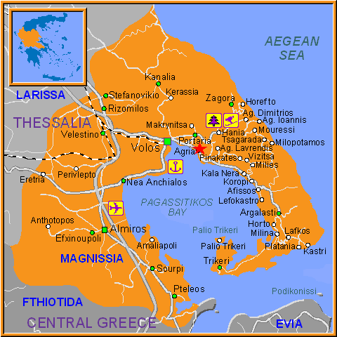 Travel Greece Map of Agria
