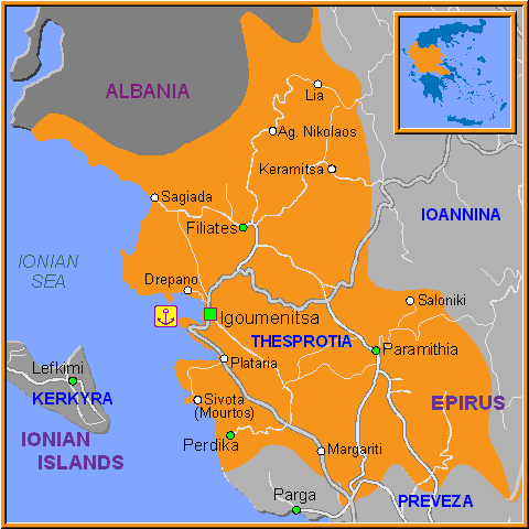 Travel Greece Map of Thesprotia