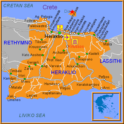 Travel Greece Map of Dia