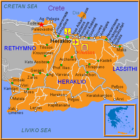 Travel Greece Map of Fodele