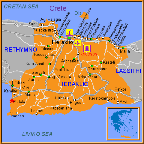 Travel Greece Map of Matala