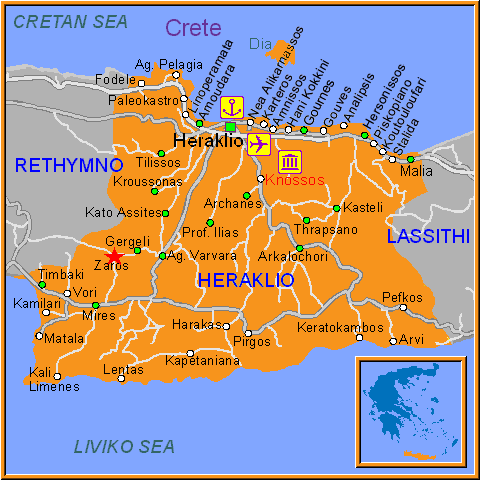 Travel Greece Map of Zaros
