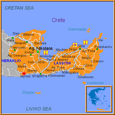 Travel Greece Map of Myrtos