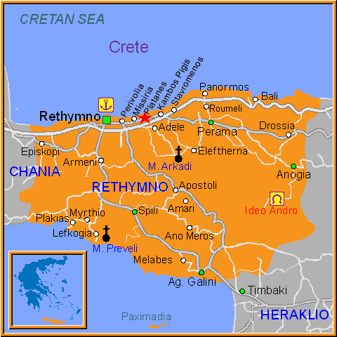 Travel Greece Map of Platanes