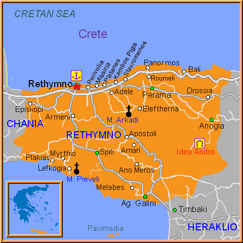 Travel Greece Map of Rethymnon Town