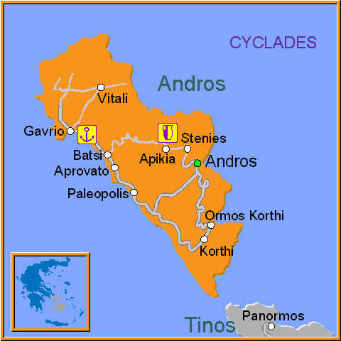 Travel Greece Map of Andros