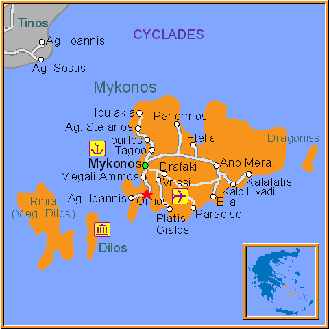 Travel Greece Map of Ornos