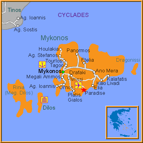 Travel Greece Map of Super Paradise