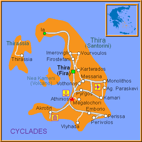 Travel Greece Map of Athinios