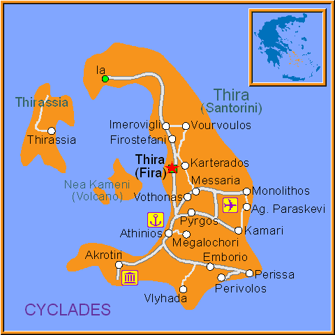 Travel Greece Map of Fira