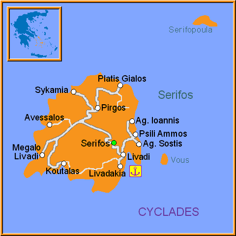 Travel Greece Map of Serifos