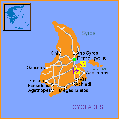 Travel Greece Map of Syros