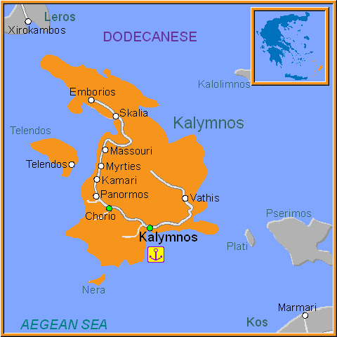 Travel Greece Map of Kalymnos