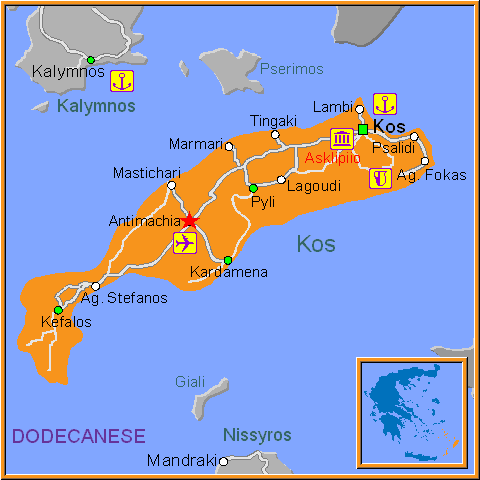 Travel Greece Map of Antimachia