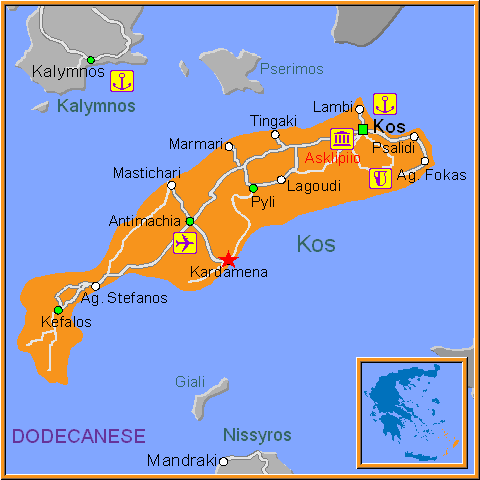 Travel Greece Map of Kardamena
