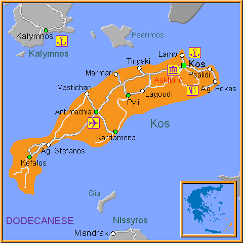 Travel Greece Map of Kos