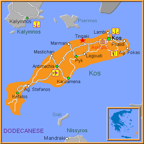 Travel Greece Map of Tingaki