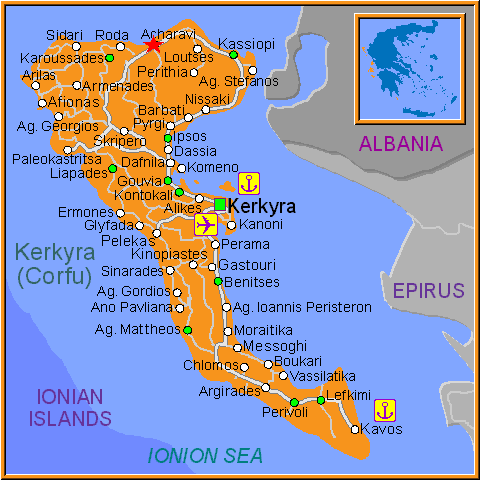 Travel Greece Map of Acharavi
