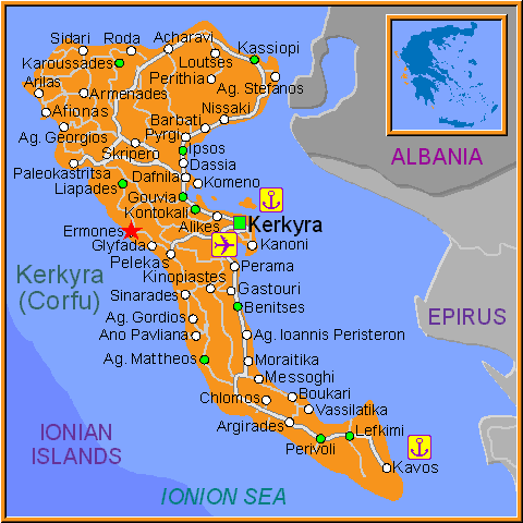 Travel Greece Map of Ermones