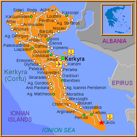 Travel Greece Map of Kavos
