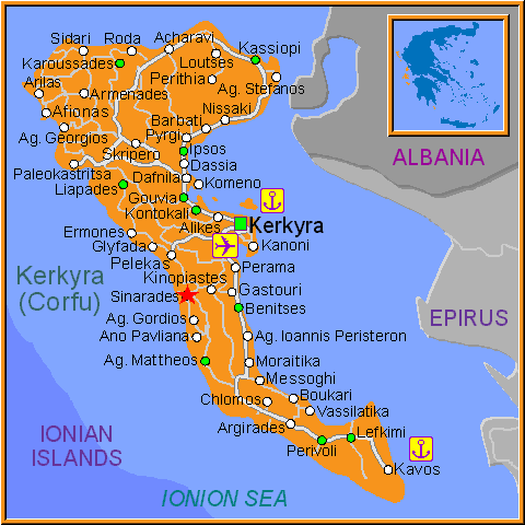 Travel Greece Map of Sinarades
