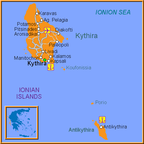 Travel Greece Map of Kythira