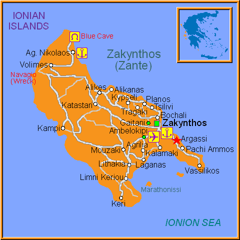 Travel Greece Map of Argassi