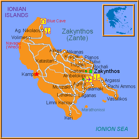 Travel Greece Map of Kampi
