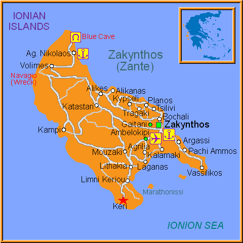 Travel Greece Map of Keri
