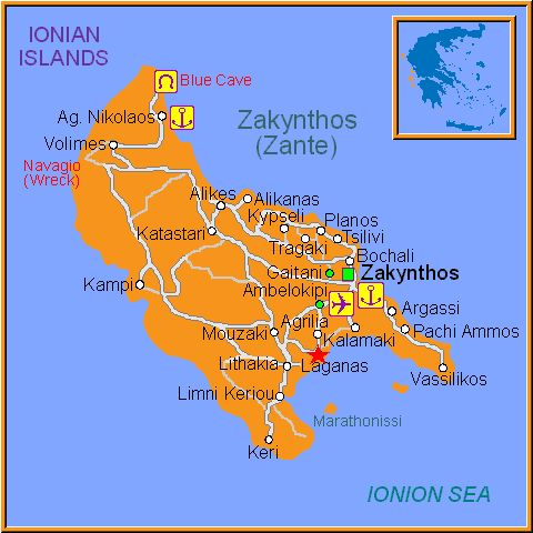 Travel Greece Map of Laganas