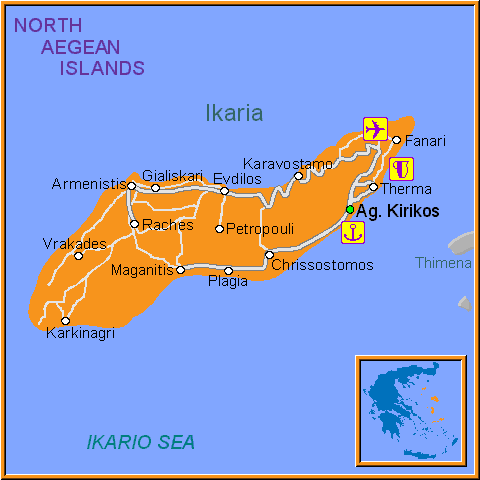 Travel Greece Map of Ikaria