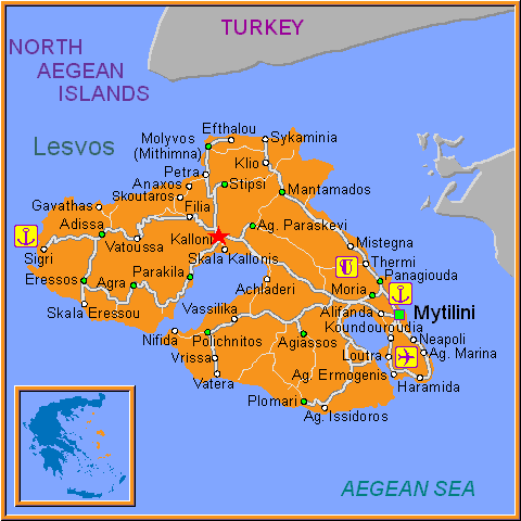 Travel Greece Map of Kalloni