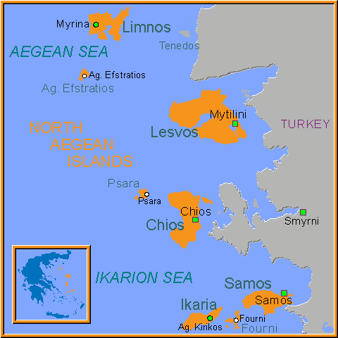 Travel Greece Map of Northeast Aegean