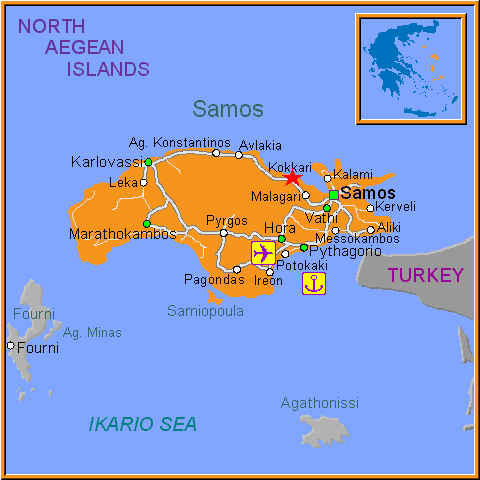 Travel Greece Map of Kokkari