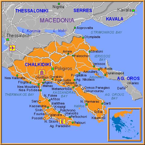 Map of Chalkidiki