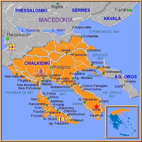 Travel Greece Map of Sykia