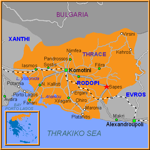 Travel Greece Map of Sapes