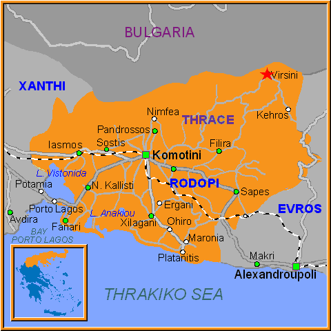 Travel Greece Map of Virsini
