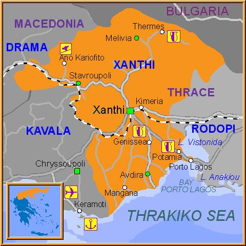Travel Greece Map of Xanthi