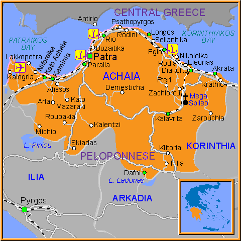 Travel Greece Map of Achaia