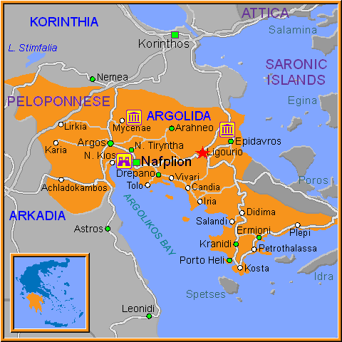 Travel Greece Map of Ligourio