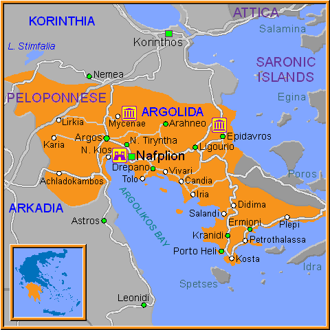 Travel Greece Map of Argolida