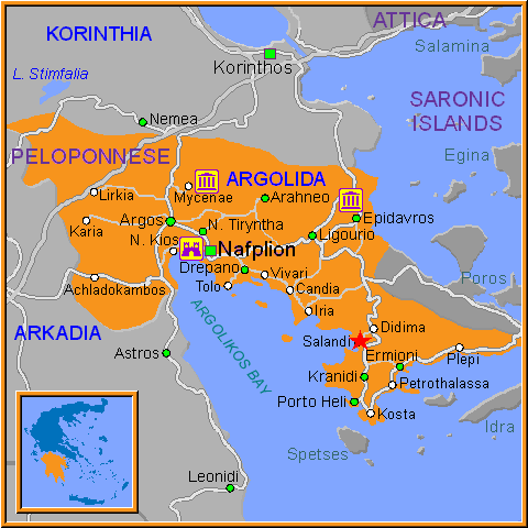 Travel Greece Map of Salandi