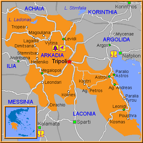 Travel Greece Map of Tripoli